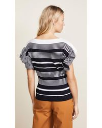Jason Wu - Blue Ruffle Sleeve Knit Top - Lyst