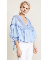 Free People - Blue Drive You Mad Blouse - Lyst