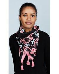 Kate Spade - Black Tapestry Silk Square Scarf - Lyst