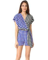 Diane von Furstenberg | Blue Short Sleeve Wrap Romper | Lyst