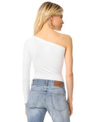Helmut Lang - White Long Sleeve One Shoulder Top - Lyst