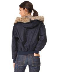 Vince - Blue Fur Trimmed Bomber Jacket - Lyst