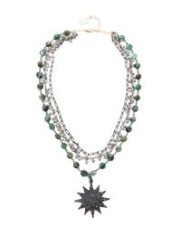 Ela Rae - Multicolor Three Layer Emerald Coin Necklace - Lyst