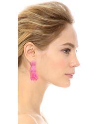 Oscar de la Renta - Pink Short Tassel Clip On Earrings - Lyst