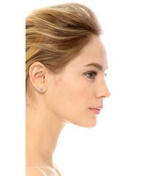Kenneth Jay Lane - Metallic Classic Luxe Four Prong Earrings - Lyst