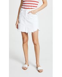 7 For All Mankind - White Skirt With Frayed Hem - Lyst