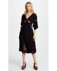 fd4654d4639d Free People Day Glow Midi Dress in Black - Lyst