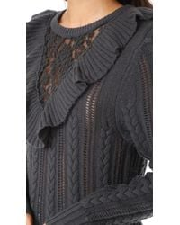 Nightcap - Gray Lace Inset Sweater - Lyst