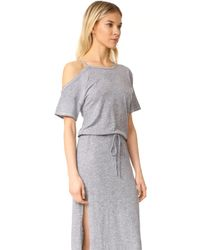 Lanston - Gray Cold Shoulder Tee Midi Dress - Lyst