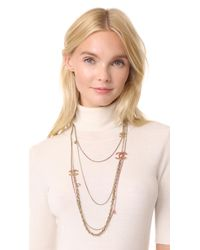 What Goes Around Comes Around - Metallic Chanel Strands Necklace - Lyst