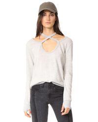 Pam & Gela - Gray Rib Cross Neck Sweatshirt - Lyst