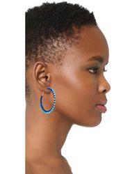 Rebecca Minkoff - Blue Thread Wrapped Hoop Earrings - Lyst