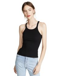Re/done - Black Ribbed Tank - Lyst