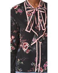 Re:named Black Floral Tie Neck Blouse