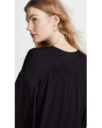 Vince - Black Ruched Split Neck Blouse - Lyst