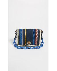 a456b83c0a86 Tory Burch Kira Whipstitch Double Strap Mini Bag in Blue - Lyst