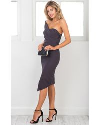 Showpo - Gray By Your Side Dress In Charcoal - Lyst