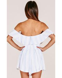 Showpo - All My Life Playsuit In Blue Stripe - Lyst