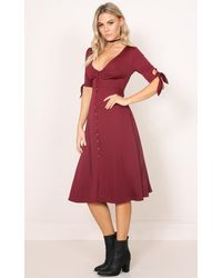 Showpo - Red The Limelight Dress In Wine - Lyst