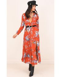 Showpo | Orange Rainforest Dreams Dress In Rust Floral | Lyst