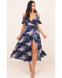 Showpo | Blue In The End Maxi Dress In Navy Floral | Lyst