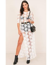 Showpo - Dream Town Dress In White Lace - Lyst