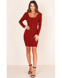 Showpo - Red Hold That Thought Dress In Wine - Lyst