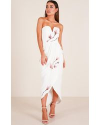 Showpo - Never Look Back Dress In White Floral - Lyst