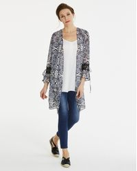 Simply Be - Multicolor Longline Kimono With Print Trim - Lyst