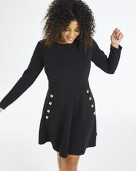 Simply Be - Black Gold Button Skater Dress - Lyst
