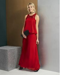 Simply Be - Red Black Lace Yoke Layer Maxi Dress - Lyst