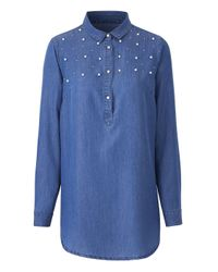 Simply Be - Blue Longline Tunic With Pearls - Lyst