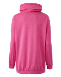Simply Be - Pink Zip Pocket Hoodie With Slouch Neck - Lyst