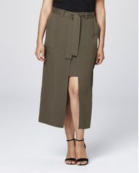 Simply Be - Green Tencel Wrap Skirt - Lyst