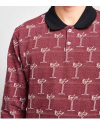Stussy - Red Long-sleeved Martini Jacquard Polo Shirt for Men - Lyst