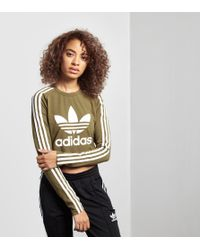4730069e06f148 Lyst - adidas Originals Paris Long-sleeved Crop T-shirt in Green