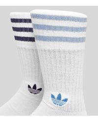 Adidas Originals - Blue Crew Socks 2 Pack for Men - Lyst