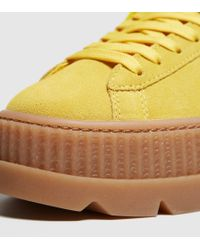 PUMA - Yellow Cleated Creeper Suede Sneakers - Lyst