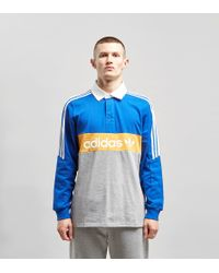0808ce72 adidas Originals Heritage Long Sleeve Rugby Polo Shirt in Blue for ...