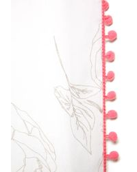 South Moon Under - Pink Floral Pom Pom Oblong Scarf - Lyst