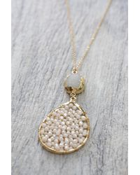 South Moon Under - White Druzy With Teardrop Pendant Layered Necklace - Lyst