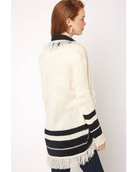 South Moon Under - Multicolor Stripe Cocoon Fringe Cardigan - Lyst