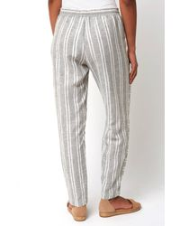 South Moon Under - Gray Striped Gauze Tapered Pull On Pant - Lyst