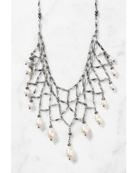 South Moon Under - Metallic Chain Bib With Pearl Drops - Lyst