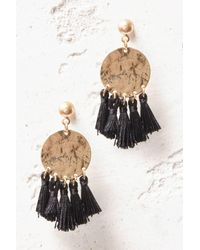 South Moon Under - Black Metal Circle Fringe Drop Earrings - Lyst