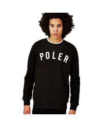 Poler - State Crew Sweatshirt Black Men's Sweater In Black for Men - Lyst