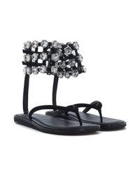 Alexander Wang - Black Aubrey Crystal Caged Thong Sandal - Lyst