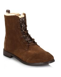TOMS - Womens Chocolate Brown Alpa Water Resistant Suede Boots Women's Low Ankle Boots In Brown - Lyst