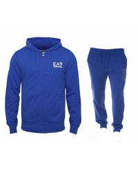 Emporio Armani - 3 Z Hooded Tracksuit Royal Blue for Men - Lyst