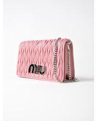 Miu Miu - Pink Matelasse Clutch - Lyst